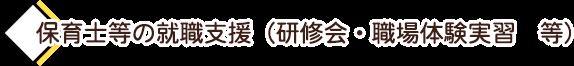 保育士等の就職支援(研修会・職場体験学習)